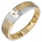 Preview: Herren Ring 585 Gold Gelbgold Weißgold mattiert 2 Diamanten Brillanten Goldring