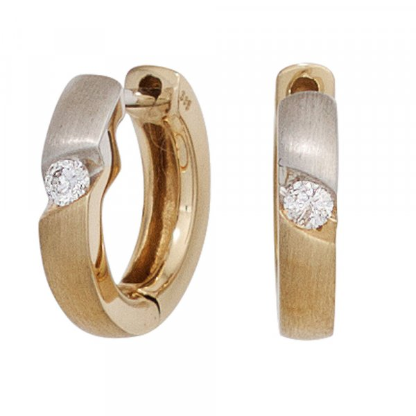 Creolen rund 585 Gold Gelbgold bicolor matt 2 Diamanten Brillanten Ohrringe