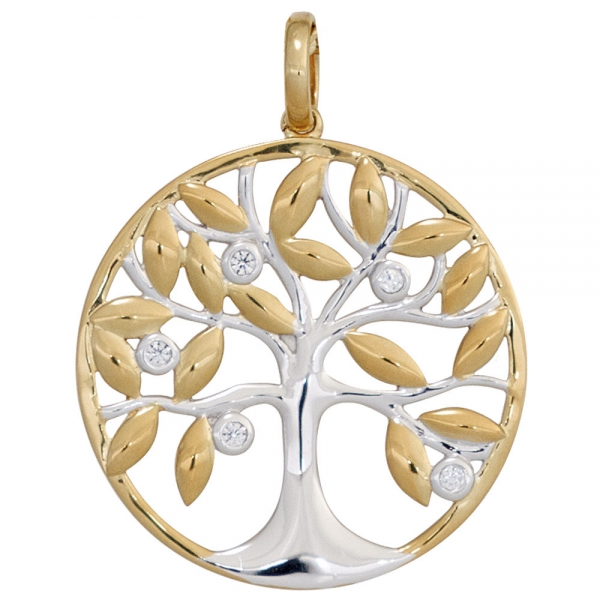 Anhänger Baum 585 Gold Gelbgold bicolor 5 Diamanten Brillanten Goldanhänger Schmuck Geschenke für Frauen Schmuckgeschenke