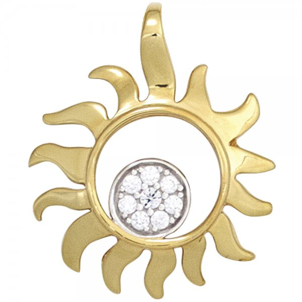 Anhänger Sonne 585 Gold Gelbgold bicolor 8 Diamanten Brillanten 0,07ct.