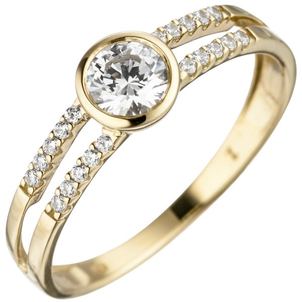 Damen Ring 333 Gold Gelbgold 21 Zirkonia Goldring