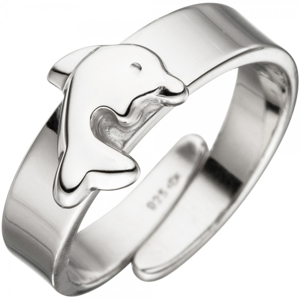 Kinder Ring Delfin 925 Sterling Silber Silberring Kinderring verstellbar