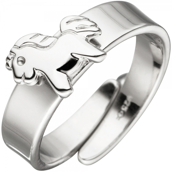 Kinder Ring Pferd Pony 925 Sterling Silber Silberring Kinderring verstellbar