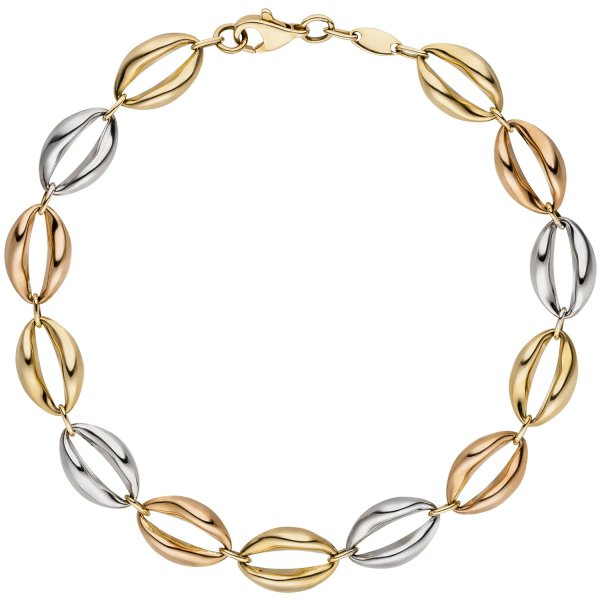 Armband 585 Gold Gelbgold Rotgold Weißgold tricolor dreifarbig 19 cm Goldarmband