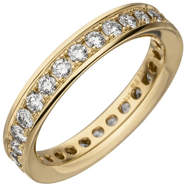Damen Memory-Ring 585 Gold Gelbgold mit Diamanten Brillanten 1,12 ct.