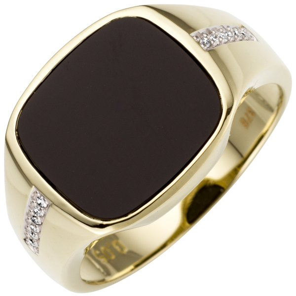 Herren Ring 585 Gold Gelbgold bicolor 12 Diamanten Brillanten 1 Onyx Goldring