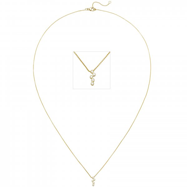 Collier 750 Gold Gelbgold 5 Diamanten Brillanten 45 cm