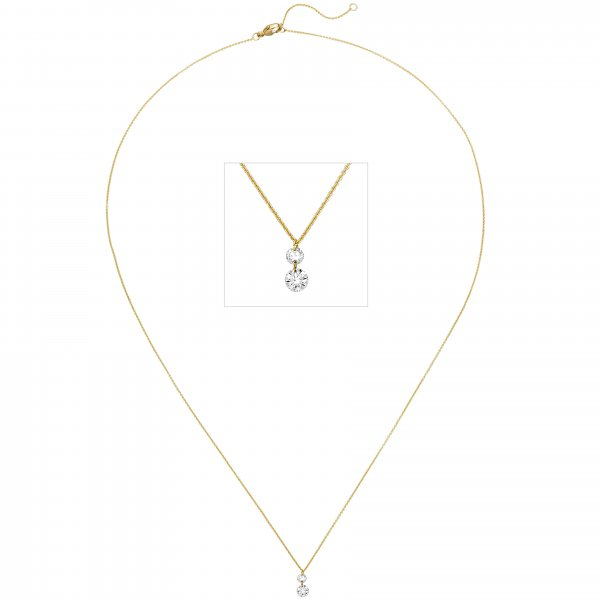 Collier 750 Gold Gelbgold 2 Diamanten Brillanten 45 cm