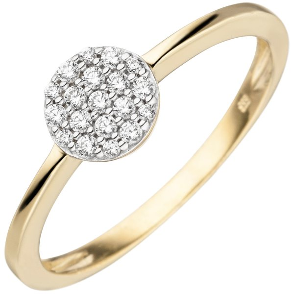 Damen Ring 333 Gold Gelbgold bicolor 19 Zirkonia