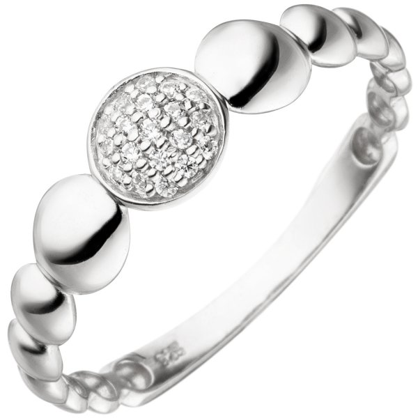 Damen Ring 925 Sterling Silber 19 Zirkonia Silberring