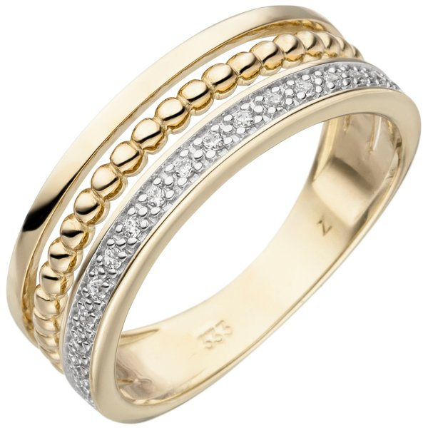Damen Ring 333 Gold Gelbgold bicolor 17 Zirkonia Goldring