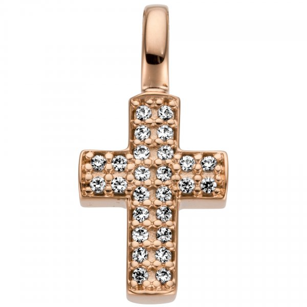 Anhänger Kreuz 585 Gold Rotgold 26 Diamanten Brillanten 0,08ct.