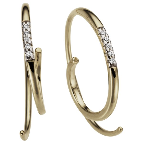 Creolen 585 Gold Gelbgold 10 Diamanten Brillanten 0,04ct.