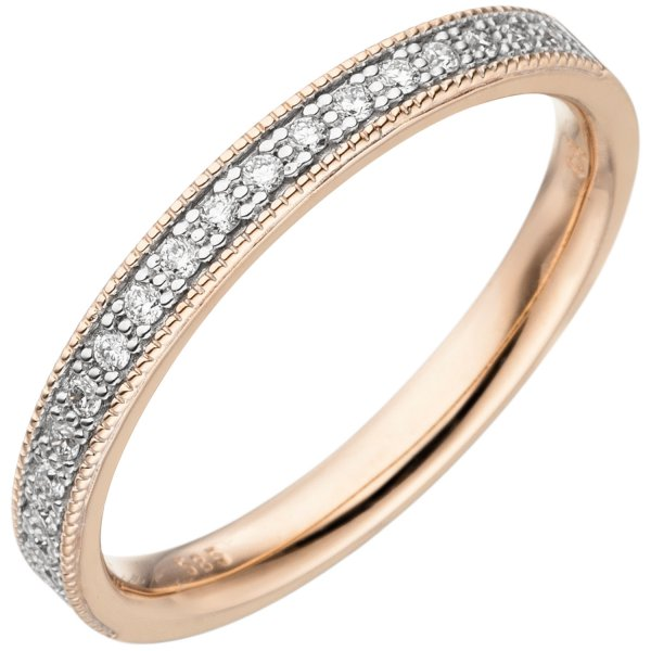 Damen Ring 585 Gold Rotgold 19 Diamanten Brillanten