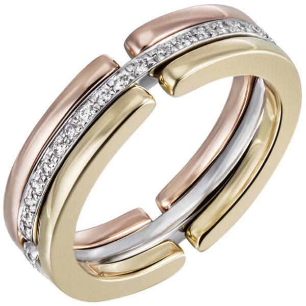 Damen Ring 585 Gold Tricolor mit Diamanten Brillanten rundum