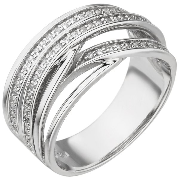Damen Ring 925 Sterling Silber 73 Zirkonia Silberring