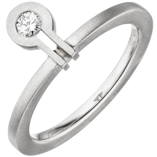 Damen Ring 950 Platin matt 1 Diamant Brillant 0,07ct.