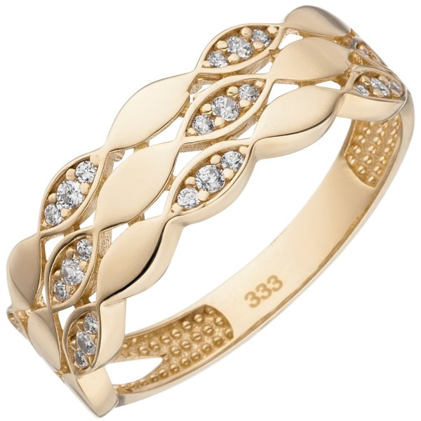 Damen Ring 333 Gold Gelbgold 26 Zirkonia Goldring