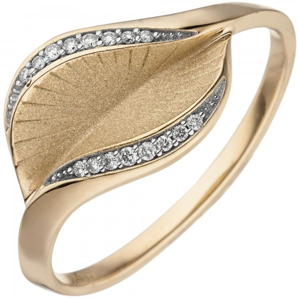 Damen Ring 585 Gold Gelbgold matt 16 Diamanten Brillanten