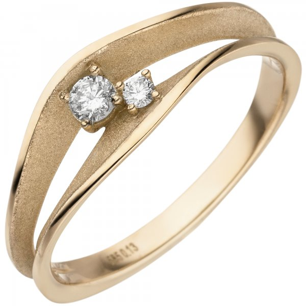 Damen Ring 585 Gold Gelbgold teil matt 2 Diamanten Brillanten