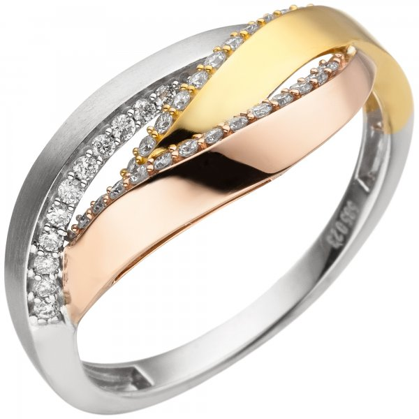 Damen Ring 585 Weißgold Rotgold Tricolor 36 Diamanten Brillanten
