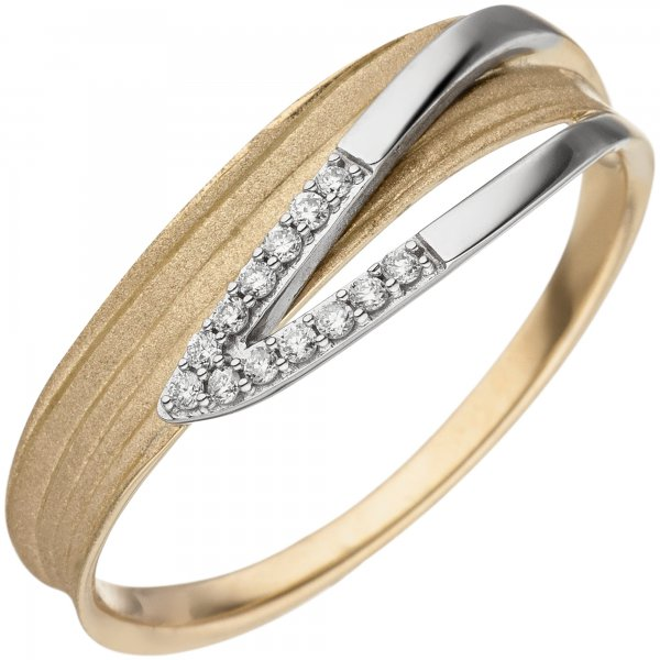 Damen Ring 585 Gelbgold Weißgold bicolor matt 13 Diamanten Brillanten