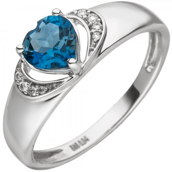 Damen Ring Herz 585 Gold Weißgold 1 Blautopas 8 Diamanten Brillanten