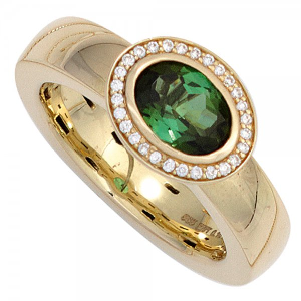 Damen Ring 585 Gold Gelbgold 1 Turmalin grün 28 Diamanten Brillanten Goldring