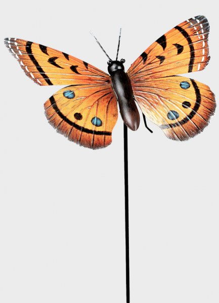 Gartenstab Gartenstecker Schmetterling orange Metall 24cm