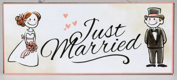 Schild Blechschild als Wandbild aus Metall Just married... 30x13 cm