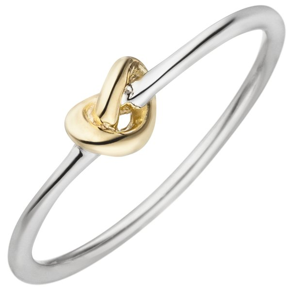 Damen Ring Knoten 925 Sterling Silber bicolor vergoldet