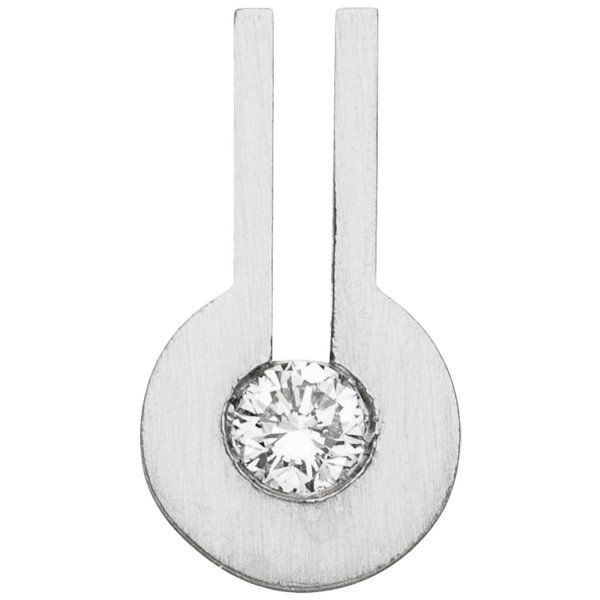 Anhänger 950 Platin matt 1 Diamant Brillant 0,10ct.